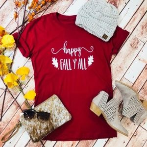 """""""Happy Fall Y'all"""" Burgundy Tee"""